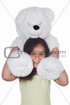 African girl with teddy bear