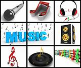 photomontage of musical equipments