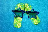 Aquatic flip flops and fun glasses