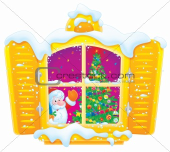 Santa Claus and Christmas tree in the window