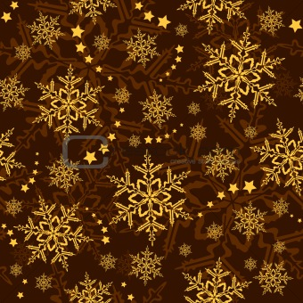 Seamless snowflakes and stars, winter wallpaper