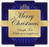 Ornate Blue and Gold Christmas Label with room for your own text.