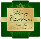 Ornate Green and Gold Christmas Label with room for your own text.