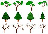 collection of 12 vector trees