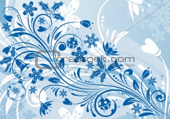 Floral background with snowflake