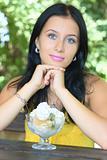 Portrait girl with ice-cream