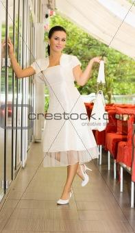 Beauty bride on cafe