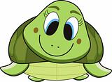 vector illustration cartoon of a green smile turtle