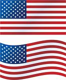 Vector illustration: United States flag, includes waving version