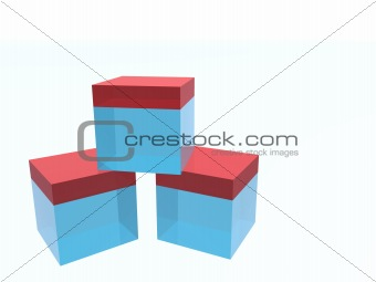 Three glass cubes