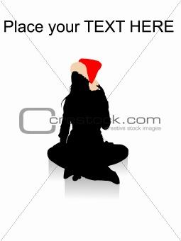 sitting female wearing christmas hat