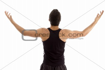 back pose of man with raised arms