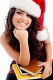 young student wearing christmas hat