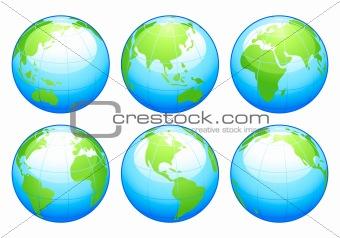 Six glossy globes