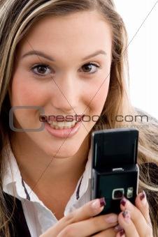 female holding mobile