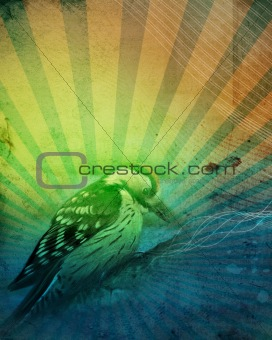 abstract background with bird, illustration