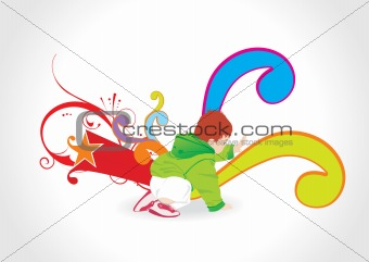 abstract background with playing kid, illustration