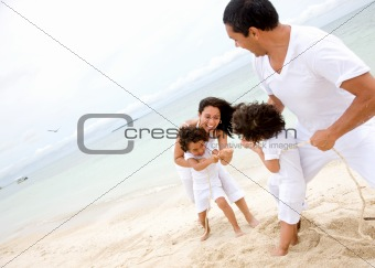 family having fun - beach