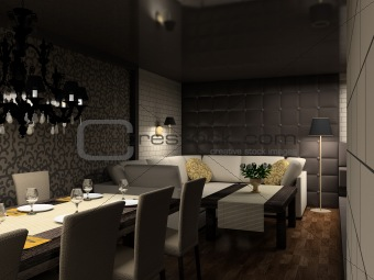 3D render modern interior of cafe;