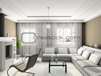 3D render modern interior of living-room