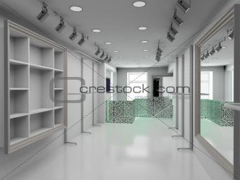 3D render modern interior of shop