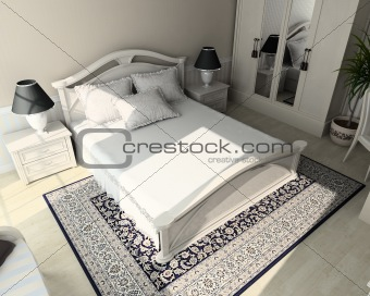 3D render classic interior of bedroom
