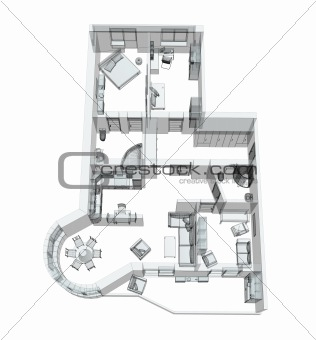 3d sketch of a four-room apartment