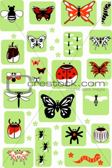 Set of Vector Insects