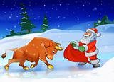 Santa Claus with a bull