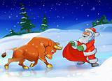 Santa Claus with a bull