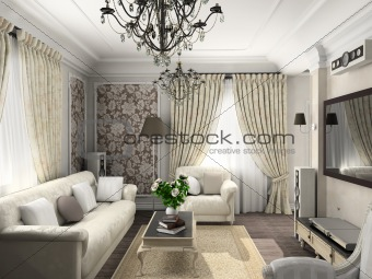 living-room with the classic furniture