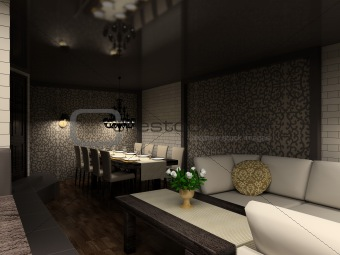 3D render modern interior of cafe