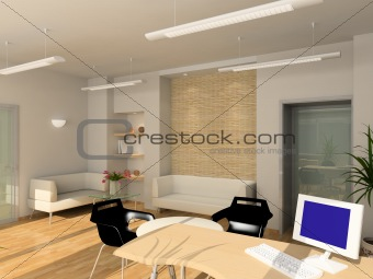 3D render modern interior of office