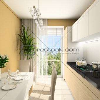 3D render modern interior of kitchen