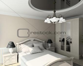 3D render classic interior of bedroom