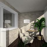 3D render modern interior of verandah