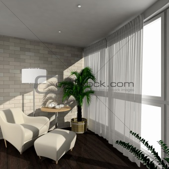 3D render modern interior of verandah