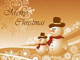christmas background with two snowman, vector illustration