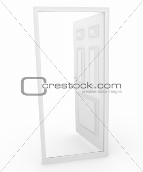 3d Door Open to Blank Space