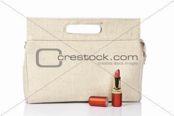 Lipstick and handbag