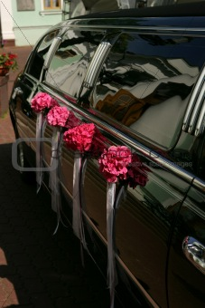 Black wedding car limousine