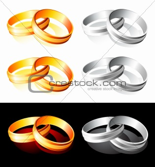 Wedding gold and silver rings