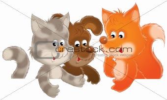 Kitten, puppy and fox