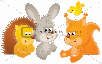 Hedgehog, rabbit, squirrel and bird