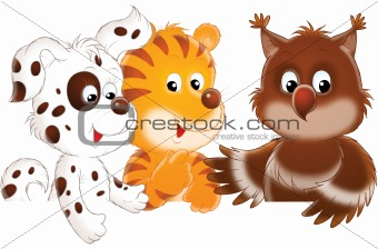 Puppy, tiger and owl