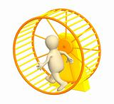3d puppet, running inside a wheel