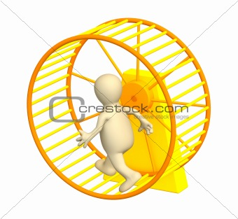 3d puppet, running inside a wheel