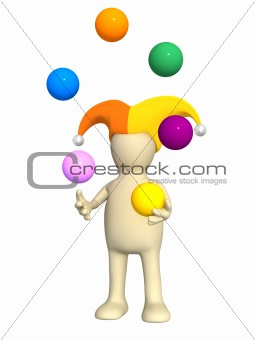 3d clown - puppet, juggling with balls