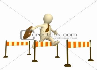 3d puppet, jumping through a barrier