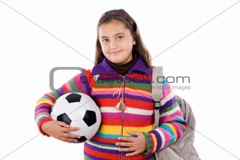 Adorable student girl with soccer ball